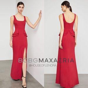 BCBG MAXAZRIA Double Ruffle Peplum Gown - Red